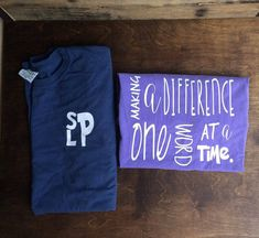 This is a comfort color tshirt with the words Making a difference one word at a time. The designon the front of the shirt is SLP stacked and on the back of the shirt is the quote. The colors of the shirts in the picture are comfort color midnight and purple. We can do other colors please just let us know if you would like another color.  Care Instructions for Vinyl: Do not dry clean Do not bleach Wait 24 hours before the first wash Turn the garment inside out Machine wash warm with mild…