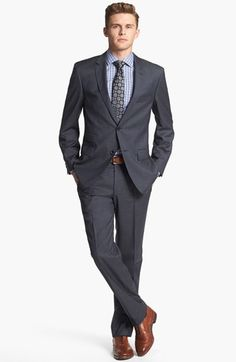 Perfect with the brown shoes.  BOSS HUGO BOSS 'Edison/Power' Classic Fit Wool Suit available at #Nordstrom