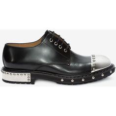 Alexander McQueen Hobnail Metal Toe-cap Derby ($1,760) ❤ liked on Polyvore featuring men's fashion, men's shoes, men's oxfords, black, mens black leather shoes, mens leather sole shoes, mens black shoes, mens leather shoes and mens round toe shoes