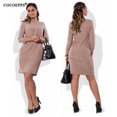 COCOEPPS Модные vestidos женщин плюс размер платья больших размеров 2017 повседневная осень 5XL 6XL dress женщины свободный о-образным вырезом мини Dress