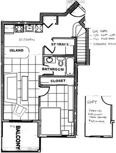 Our apartment floorplan with planned furniture placement. It's about a 600-sq foot space, with a small loft (office space) over the bathroom, opening onto a roftop patio over the bedroom, and a second balcony off the living room. The living/kitchen space has 18-foot ceilings and huge windows with western exposure! It's a bit narrow for designing layout, so I've been trying various scale configurations using the furniture pieces we've collected. We move in August!
