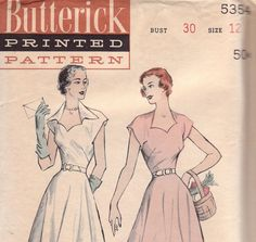 1950s Day Dress Pattern with Sweetheart by OneMoreCupOfTea on Etsy, $15.00