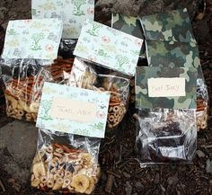You can't have a camping trip without trail mix. I made custom bags to mock something you would pull off the rack of a convenience store! I used festive scrapbook paper to seal the deal