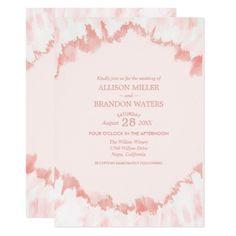 #Blush Pink Watercolor Modern Wedding Invitation - #weddinginvitations #wedding #invitations #party #card #cards #invitation #watercolor