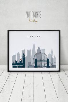 London wall art, print, Poster, cityscape, London skyline, England, UK, City print, Travel, Wall Decor, Gift, Home Decor, ArtPrintsVicky