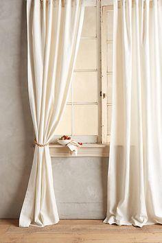 Linen Tie-Top Curtain #hamptonsstyle #anthroregistry