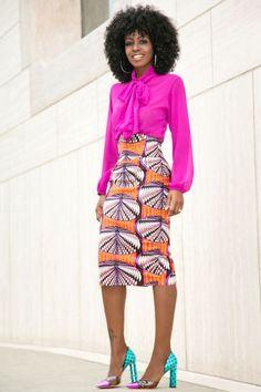Pussy Bow Blouse x Ankara Print Pencil Skirt