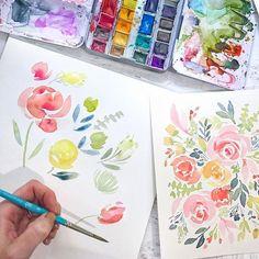 Watercolor Flower Tutorial - Natalie Malan Pinners Conference - Watercolor DIY Watercolor Floral Flowers Tattoo Paintings Tutorial