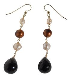 14k Yellow Gold Dyed Freshwater Cultured Pearl and Smoky Quartz Dangle Earrings Blue Breeze Jewelry http://www.amazon.com/dp/B00ACCOIH2/ref=cm_sw_r_pi_dp_ydnUtb1E3FQNR398