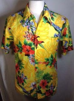 Barefoot in Paradise Hawaiian Shirt Medium Mens Tropical Yellow Vintage