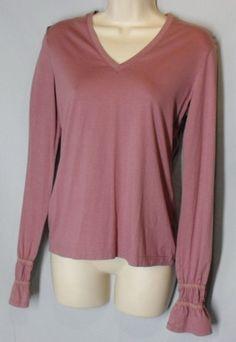 TARA JARMON size 40 France 10 M Medium Pink Knit Stretch Top Long Sleeves #TaraJarmon #KnitTop