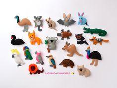 AUSTARLIAN ANIMALS FELT MAGNETS