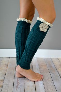 Teal Knitted Leg Warmers with Flower