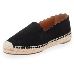 Chloe Lauren Scalloped Espadrille Flat (€460) ❤ liked on Polyvore featuring shoes, flats, tan, flat shoes, woven leather flats, leather slip on shoes, leather flats and leather flat cap