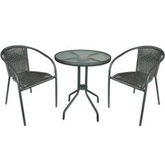 Doral Designs - Bistro Patio Table And 2 Wicker Chairs