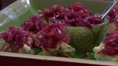 Rödlöksmarmelad på pepparkakor med blåmögelost