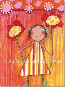Blumen Mädchen - Serie: Acrylbilder Motive fürs Kinderzimmer