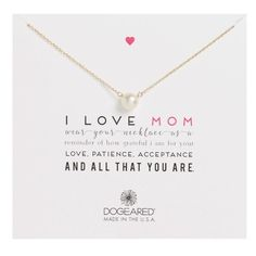 Women's Dogeared I Love Mom Pearl Pendant Necklace ($42) ❤ liked on Polyvore featuring jewelry, necklaces, gold, pearl jewellery, pearl pendant necklaces jewelry, dogeared necklace, pearl pendant necklace and pearl jewelry