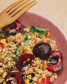 BULGAR SALAD WITH CHERRIES  Ingredients  1 cup bulgur wheat  Coarse salt and ground pepper  2 tablespoons walnut oil  3 tablespoons fresh lemon juice  1 shallot, minced  1/2 pound halved and pitted fresh sweet cherries  1/2 cup chopped fresh herbs, such as tarragon, chives, and parsley  1/4 cup coarsely chopped walnuts