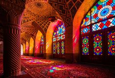 The Nasir al-Mulk in Shiraz, Iran is one of the most stunning mosques or religious structures you'll ever encounter. From the outside, it looks like a traditional mosque with colored ceramic tiles forming sacred patterns. What really sets the Nasir al-Mulk mosque apart is the way the morning light shines through its hundreds of complex stained-glass windows. It's these windows that turns the mosque into a kaleidoscope where bright lights arc and wash the walls with every color of the…