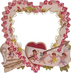 Wings of Whimsy: Die Cut Cherub Heart Frame/Picture Mat PNG file (transparent background) - free for personal use #vintage #edwardian #victorian
