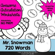 Black-ink only worksheets. 20 words per worksheet. Use for therapy or homework.
