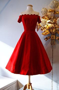 Vintage-50s-Red-Velvet-Off-Shoulder-Party-Dress-Tea-Length-Prom-Dresses-2015