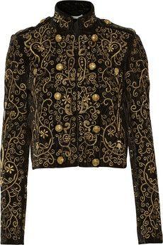Alice + Olivia Phoenix embroidered velvet jacket | NET-A-PORTER
