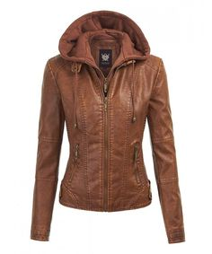 c47187ed34709e Buy LL Womens Hooded Faux leather Jacket - Wjc1044 camel - CQ12MYKFFBN and  others Women s Leather Coats