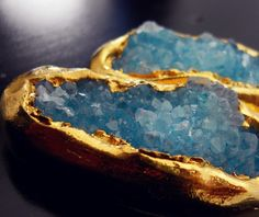 luxe gold dipped druzy earrings by sparkelcouture