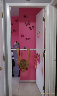 Easy way to let your little gymnast practice the bar at home!