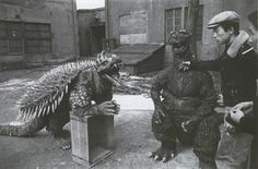 Godzilla and Angilas taking a well deserved break. Renovating whole cities is exhausting work, don't you know. Behind the scenes on GODZILLA RAIDS AGAIN (1955). Photo from blacksun1987.blogspot.com.