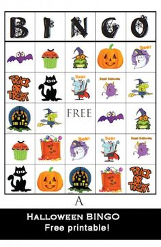Halloween BINGO free printable games and so many other cute printables for cupcakes treat bags etc.