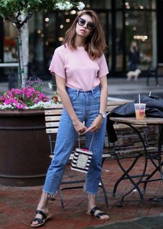 High-waist denim, a lax toy, a long cardigan and slip-on footwear make your perfect attractive and casual outfit. Slip On Sandals Outfit, Black Slip On Sneakers Outfit, Casual Outfits, Summer Outfits, Fashion Outfits, Outfit Goals, Long Cardigan, Ladies Dress Design, Pretty Dresses