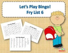 Fry List 6 - Words 501 to 600 40 Bingo Cards with Free Space 25 playing spaces per cards Call list of the 100 words randomized Print on card stock and laminate for multiple uses Print on regular paper for one-time use