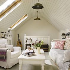 I've long had a thing for Modern Country attic bedrooms. Whether they are the result of a full-scale loft conversion, or simply the delicio. Attic Living Rooms, Small Attic Room, Small Attics, Attic Spaces, My Living Room, Home And Living, Small Spaces, Living Spaces, Cottage Living
