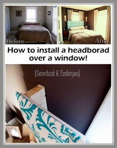 how to install a headboard over a window - small master bedroom + awkward window placement. just in case Small Master Bedroom, Home Bedroom, Bedroom Decor, Master Bedrooms, Bedroom Ideas, Interior Exterior, Interior Design, Home And Deco, Do It Yourself Home