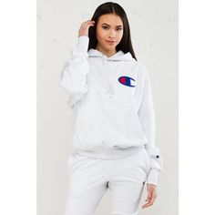 Champion Reverse Weave Pullover Hoodie ($55) ❤ liked on Polyvore featuring tops, hoodies, champion pullover, champion hoodies, pullover hoodie, pullover top and logo hoodie