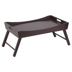 Folding bed tray with a curved top.   Product: Bed trayConstruction Material: WoodColor: Espresso...