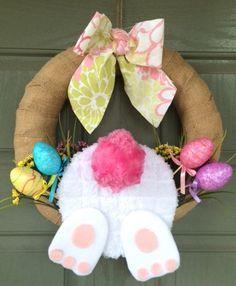 47 Super Ideas For Easter Door Decorations Bunny Diy Spring Door Wreaths, Easter Wreaths, Holiday Wreaths, Holiday Crafts, Bunny Crafts, Easter Crafts, Easter Decor, Kids Crafts, Easter Projects