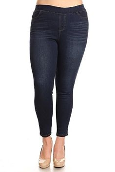 ebb494a08ad Women s Plus Size High Waisted Stretchy Pull-On Skinny Denim Jeans   Bermuda  Shorts