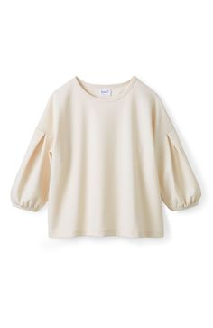エムトロワ 袖タックがきれいなポンチトップス <ホワイト>の商品写真1