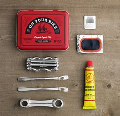 ON YOUR BIKE KIT   Sized to slip in a pocket or pannier, this kit contains essential tools and supplies to patch up punctured tires, straighten skewed spokes, tighten loose chains and bolts and get you back on the road.
