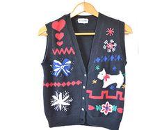 Christmas Sweater Vest Ugly Christmas Sweater Medium Tacky Christmas Sweater Scottie Dog Vintage Ugly Christmas Sweater Mens Womens Sweater