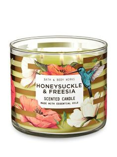 Honeysuckle & Freesia Candle - Bath And Body Works Bath Candles, 3 Wick Candles, Scented Candles, Bath N Body Works, Bath And Body Works Perfume, Candle Store, Essential Oil Candles, Smell Good, Candle Making