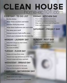 Home-Ec101.com: Weekly Chore Chart {Two Versions} with helpful hints for cleaning different areas of the house!