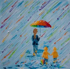 """SOLD 10""""x10""""( 25cm x 25 cm), """"Puddle Jumping-Like Mom...Almost"""" Palette Knife Painting by Colors Of Cynthia Christine Puddle Jumping is one of my favorite activities! There is something joyous about finding lovely puddles and making the biggest splash ever! Perhaps it feels like you are breaking the rules and getting as wet as possible? Simple joys often are the fondest memories!"""