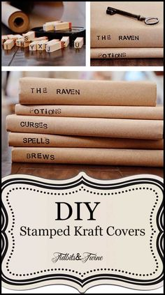 DIY Stamped Kraft Bookcovers - takes me back to high school