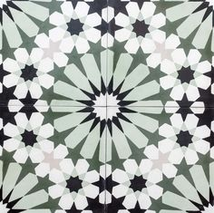 Cement Encaustic – Toronto Tiles | Saltillo Imports Inc. Toronto Islamic Patterns, Tile Patterns, Green Mosaic Tiles, Garden Tiles, Encaustic Tile, Islamic Art Calligraphy, Color Inspiration, Interior, Ranch Homes