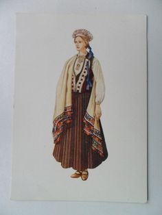 Latvian National Costume -- Perkone --  by Bauze Old Postcard Folk Dress Cloth Latvia | eBay